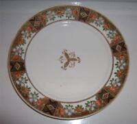 Nippon Handpainted Gold Gilted and Beaded Plate Fruit/Floral Band Gold Center
