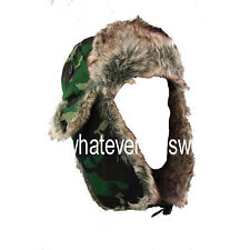 WOODLAND CAMO Faux Fur Flying Hat camouflage fold down ear flaps