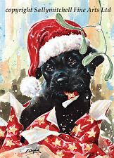 Black Labrador Retriever, Christmas cards pack of 10 by Paul Doyle. C368x
