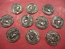 Tibetan Silver Small Coin Charm - 10 per pack
