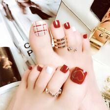 24pcs fashion red short false fake artificial toe nails tips toe nail art to Tg