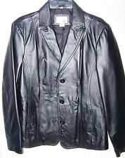 Women's EAST 5TH Black 100% Leather Button Front Jacket Blazer Size -Large