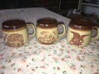 3 VTG Enesco 1979 Americana Brown & Tan Stoneware Coffee Mug Cup Military Eagle