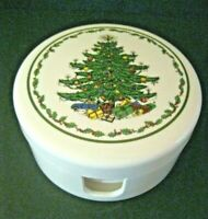 SPODE 6 CHRISTMAS TREE COASTERS PLASTIC MELAMINE WITH HOLDER NEW