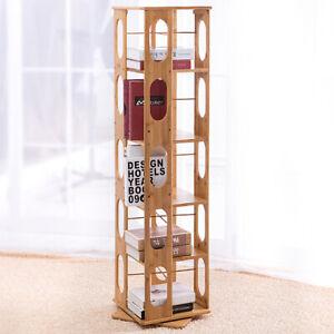 "57.5"" Bamboo Wood 5-Shelving Bookshelf Revolving Bookcase Organizer Cabinet Rack"