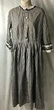 Homemade Pioneer Re-enactment Dress Girls XL Womans XS Colonial Gingham Black Wh