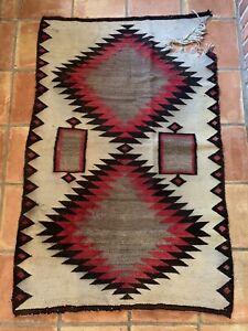 "ATQ Navajo Eye Dazzler Rug Pictorial Blanket Southwestern Barn Farm 37""x58"" VTG"