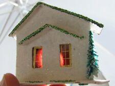 Vintage Christmas Miniature Village Putz Japan White House Bottle Brush Tree