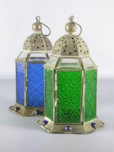 2 Lanterns A Suspension Iron And Glass Colourful Morocco Period Xx Century
