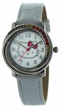 Hello Kitty Watch White Band white face Rainbow Crystal Accent pink bow HK2865