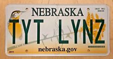 "NEBRASKA GRAPHIC BIRD VANITY LICENSE PLATE "" TYT LYNZ "" TIGHT  LINES  LENS"