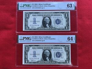 FR-1606  2 Consecutive 1934 Series $1 Silver Certificates *PMG 64/63 EPQ Ch UNC*
