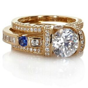 HSN Victoria Wieck 4.08Ct Absolute & Created Sapphire Ring Guard Set 6