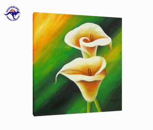 LARGE LIGHT YELLOW CALLA LILIES GREEN BACKGROUND CANVAS OIL PAINTING (NO FRAME)
