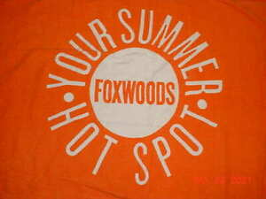 FOXWOODS BEACH TOWEL YOUR SUMMER HOT SPOT ORANGE WHITE COTTON EXCELLENT COND
