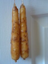 1 Pair Primitive Grubby Grungy Joined Wick Hanging Taper Candles Unscented
