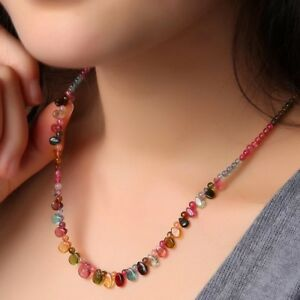 "18"" Multicolor Round Bead Genuine Tourmaline Gemstone Necklace Fine Jewelry"