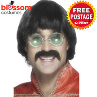 1970's Mersey Hair Wig & Tash Black Liverpool Bruce Lee Scouser Costume