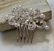 Beautiful Silver Crystal Rhinestone & Pearl Bridal, Party, Prom Hair Comb Slide