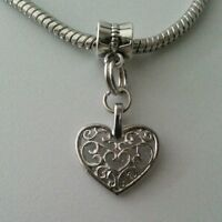 Silver Heart Dangle Bead Slider for European Style Charm Bracelet Necklace