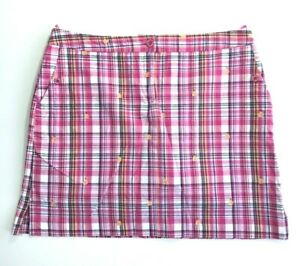 Womens IZOD GOLF Pink Plaid Embroidered Pears Athletic Skort Size 10 NWT