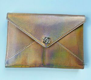 17P CHANEL HOLOGRAPHIC CC LOGO ROSE GOLD LEATHER SILVER CC CLUTCH BAG PURSE