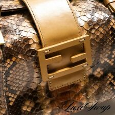 MOST WANTED Fendi Made in Italy Natural Snakeskin Python Tan Box Bag Handbag WOW