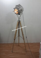 RETRO Designer's Spotlight Floor Lamp With TEAK Tripod Stand Chrome Light