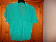 Pretty green lightweight linen mix short sleeve cardigan, TU, size 10
