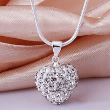 New Crystal Heart 925Sterling Silver Plated Snake Chain Pendant Necklace Jewelry