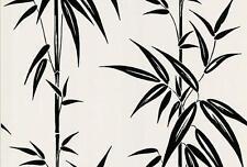 Wallpaper Black Bamboo Stalks Leaves on Egg Shell White Background