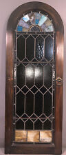 Lg Vintage Arch Top Stained Leaded Glass Old Wood Frame Cabinet Door Window