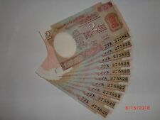 - INDIA PAPER MONEY - 10 X RS 2/- OLD  NOTES - R.N.MALHOTRA - RARE - B-33 # AA6