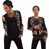 New Women's Red Black Floral Embroidered Bomber Jacket Winter Fashion Jacket UK