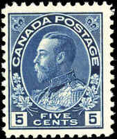 Mint H 1912 Canada F+ 5c Scott #111a King George V Admiral Issue Stamp