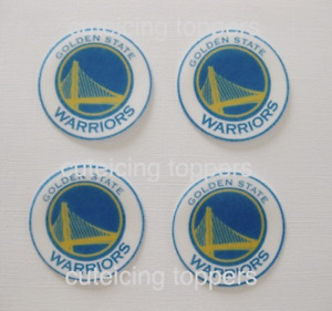 12 Pre Cut GOLDEN STATE WARRIORS  rice wafer card cupcake toppers