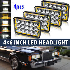 """4PCS 4X6"""" Projector Sealed LED Headlights with Amber DRL for Chevy Pickup Truck"""