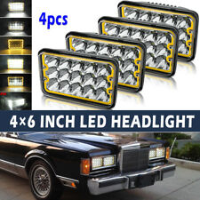 "4PCS 4X6"" Projector Sealed LED Headlights with Amber DRL for Chevy Pickup Truck"