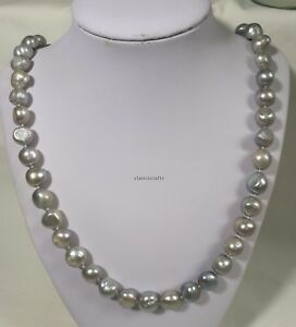 Genuine 11-12mm baroque reshwater pearl necklace stainless steel  Grey L50cm