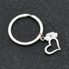 Nurse Cap Prayer Heart Keychain Circle Keyring For Women Graduation Nurse Gift