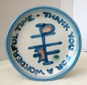 """Pair of vintage M.A.Hadley Ceramic Hand Painted coaster """"thank you for a++ time"""""""
