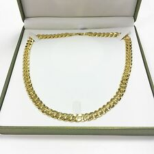 "Mans Bling 20"" pollici Solid Curb catena collana realistico 14k Oro Placcato 10 mm Uomini"