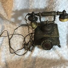 Vintage Antique Retro Rotary Handset Desk Resin Telephone European Style Bronze