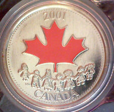 2001P CANADA DAY 25 CENT COLOURED ENCAPSULATED COIN