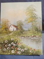 Original Oil Painting on Board 8X10 Landscape Daisies Lake Impressionist 1970's