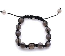 "10mm Genuine Gray Agate Macrame Shamballa Beaded Bracelet  7"" - 8.5"" inches"