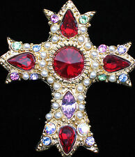 RED GREEN PINK BLUE PURPLE PEARL MEDIEVAL VICTORIAN CROSS  PIN BROOCH 2 1/4""