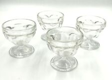 4 Vintage Clear Federal Glass Dessert Cups Ice Cream Dish Sherbet Parfait Footed