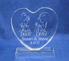 Engraved Beauty and the Beast Heart Wedding Cake Topper Personalized FREE  ship