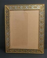 """Antique Heavy Gold Baroque Ornate  Metal Wall/ Desk Picture Frame 16"""" x 13"""""""